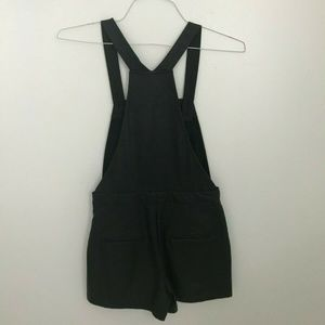 UO Sparkle & Fade Vegan Leather Overall Shorts